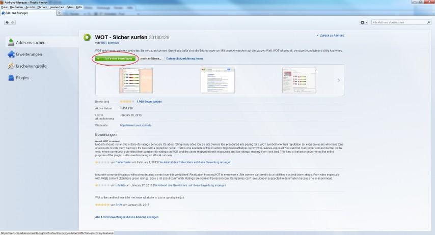 """Beim gewünschten Add-on auf die Schaltfläche """"Zu Firefox hinzufügen"""" klicken."""