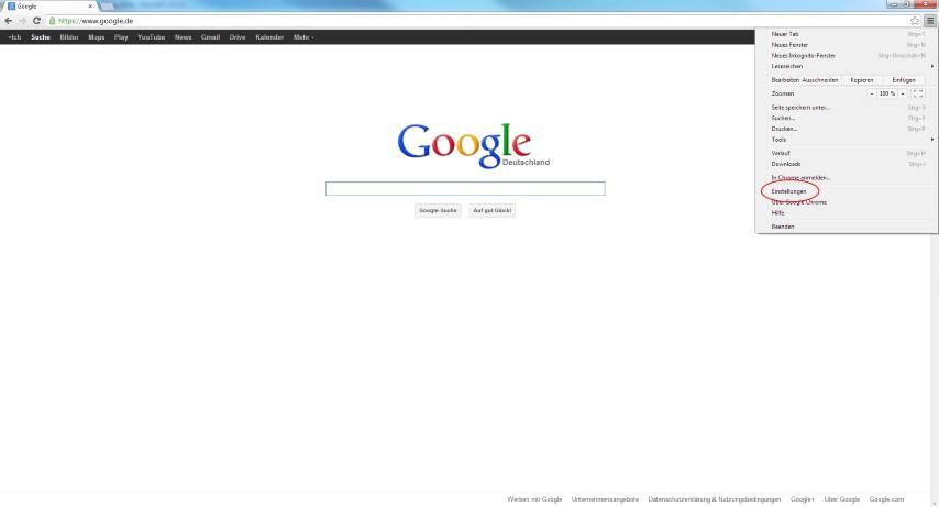 """Oben rechts auf """"google Chrome anpassen"""" klicken."""
