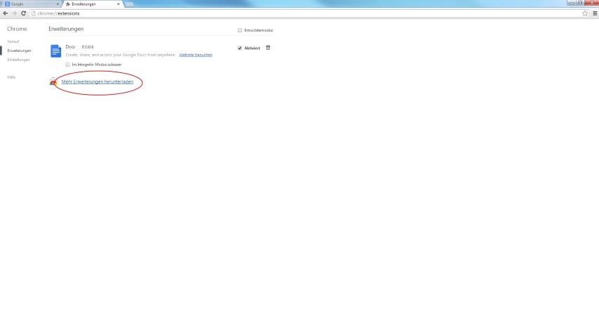 """Innerhalb des Einstellungen-Tabs klickt man auf Erweiterungen und wählt im Anschluss den Button """"Mehr Erweiterungen runterladen"""""""