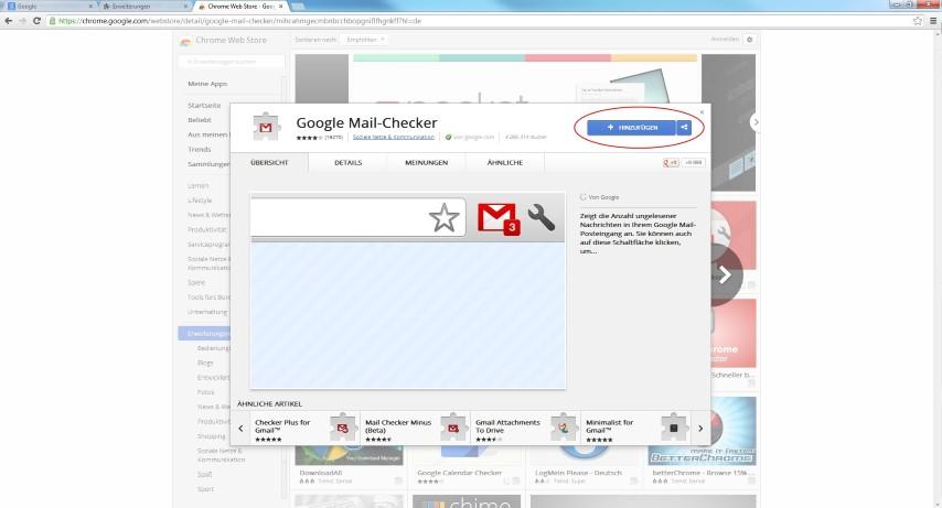 """Jetzt befindet man sich bei den Plug-Ins und kann das gewünschte Chrome Plug-In auswählen und mit dem Button """"Hinzufügen"""" ganz einfach in Chrome integrieren."""