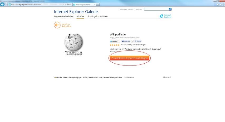 Das gewünschte Add-On zum Internet Explorer hinzufügen.